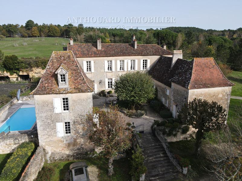 Vue aérienne du château avec piscine et tennis